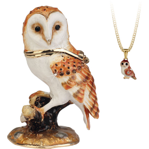 Secrets Barn Owl Trinket Box With Hidden Pendant Necklace