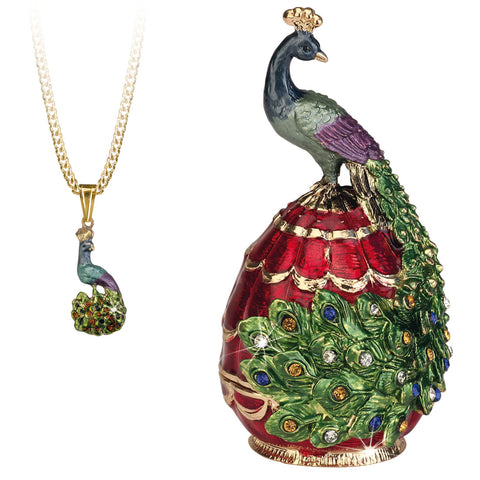 Secrets Peacock Trinket Box With Hidden Pendant Necklace