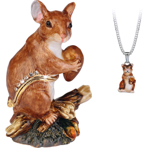 Secrets Mouse Bejeweled Trinket Box With Hidden Pendant Necklace