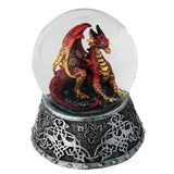 Red Dragon Figurine In Snow Globe
