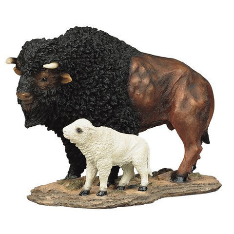 Bison Buffalo With White Calf Figurine