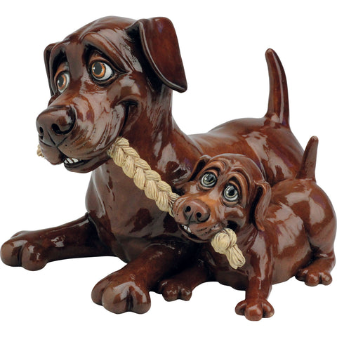 Pets With Personality Chocolate Labrador with pup dog figurine