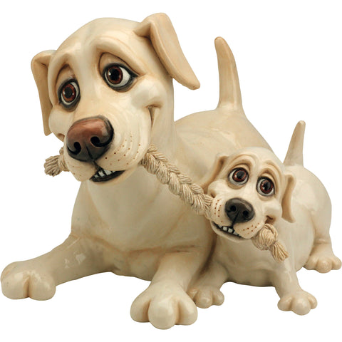 Pets With Personality Yellow Labrador Retriever and Pup Dog Figurine