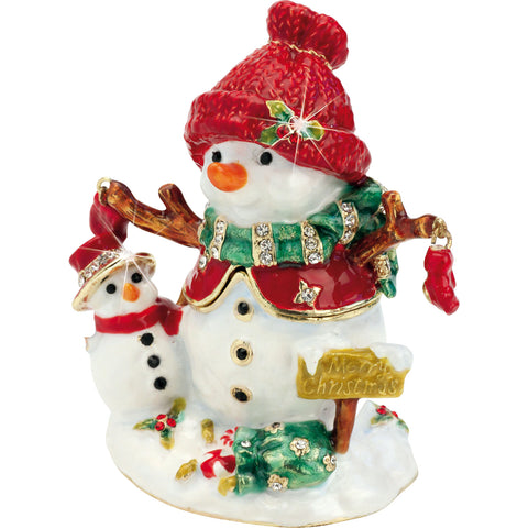Enameled Metal Craycombe Trinket Box Christmas Snowmen