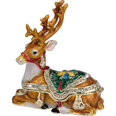 Enameled Metal Craycombe Trinket Box Reindeer