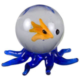 Well Fed Dark Blue Octopus Miniature Hand Blown Glass Figurine With Fish