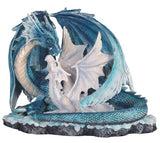 Blue Sparkly Mother Dragon With Baby Figurine Statue