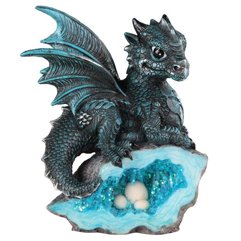 Dragon Figurine Blue With Eggs In Rock Crystal Nest