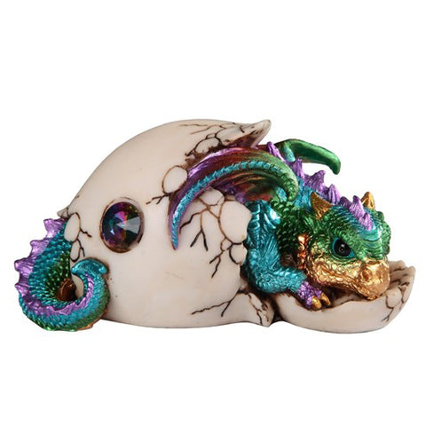 Dragon Figurine Green Baby Hatching from Egg