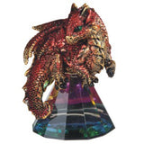 Dragon Figurine Red and Gold On Glass Pyramid