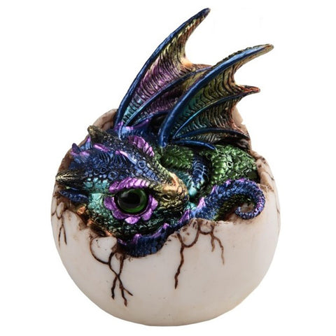 Dragon Figurine Green and Purple Baby Hatching from Egg