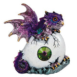 Dragon Figurine Purple Baby Hatching from Egg