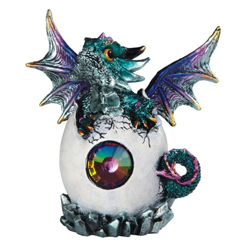 Dragon Figurine Blue Baby Hatching from Egg