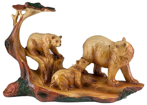 Bear With Cubs Faux Carved Wood Look Figurine