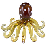 Octopus Miniature Yellow Spotted Borosilicate Glass Figurine