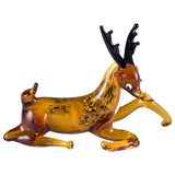 Deer Laying Miniature Hand Blown Glass Reindeer Figurine