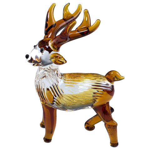 Deer Miniature Hand Blown Boro Glass Reindeer Figurine