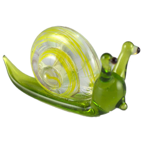 Miniature Green Snail Hand Blown Glass Figurine