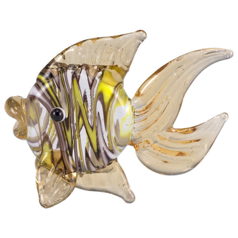Fish Amber Swirled Hand Blown Miniature Glass Figurine