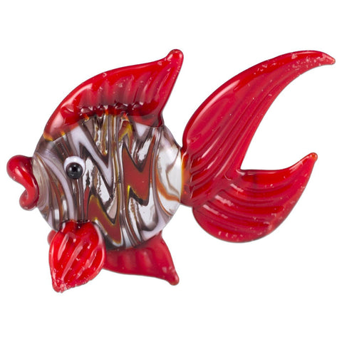Fish Red Swirled Hand Blown Miniature Glass Figurine