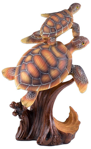 Pair of Sea Turtles Mother and Baby Faux Carved Wood Look Figurine