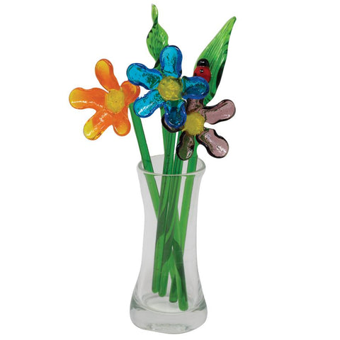 Cosmos mini flower bouquet hand blown glass 1