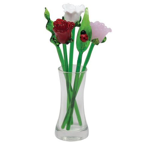 mini rose flower bouquet hand blown glass 1