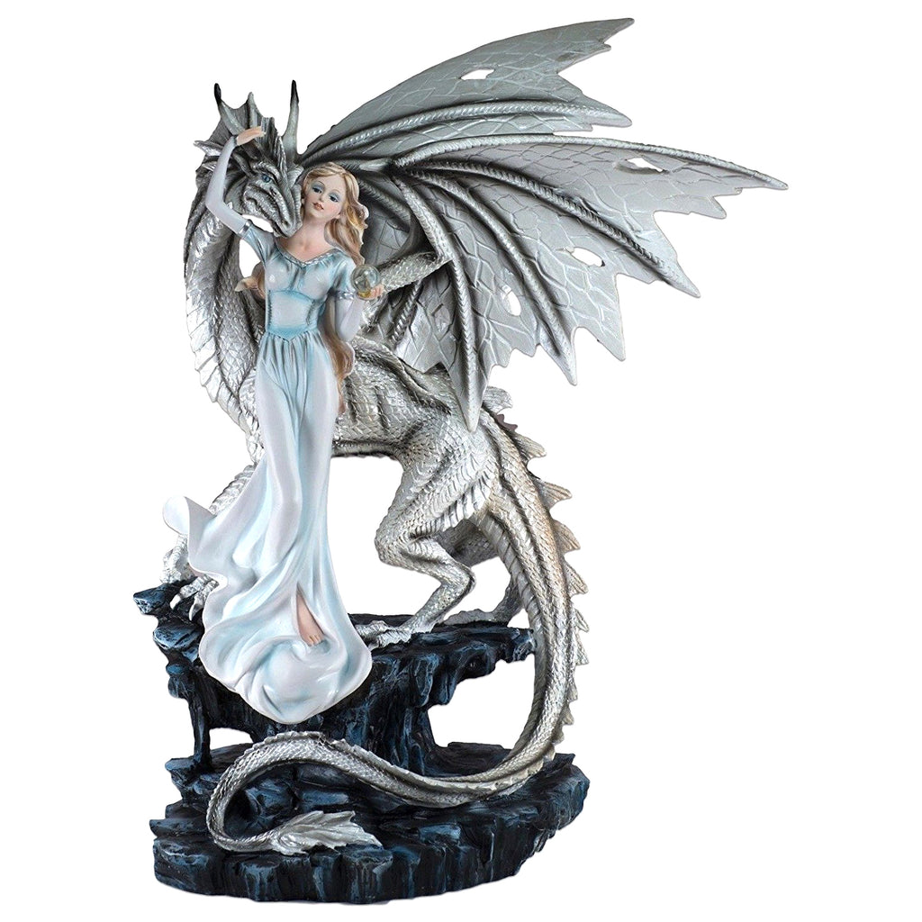 Maiden With Crystal Ball And White Dragon Fairy Figurine