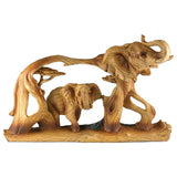Elephant Faux Carved Wood Look Figurine