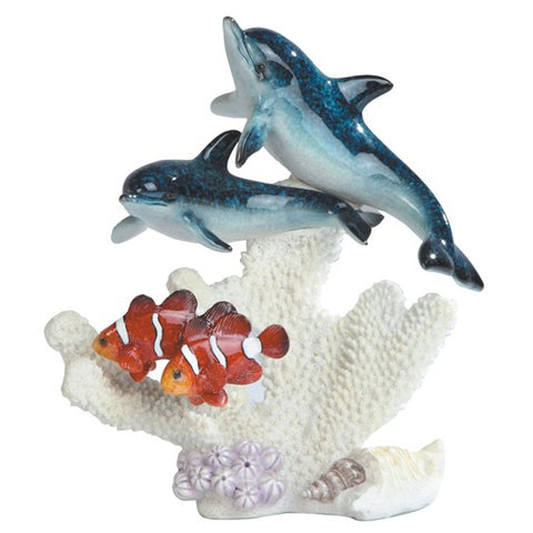 Dolphins Swimming With Clown Fish Over Coral Figurine 1