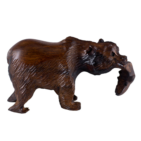 Grizzly Bear With Fish Hand Carved Ironwood Wood Figurine 1