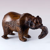 Grizzly Bear With Fish Hand Carved Ironwood Wood Figurine 2