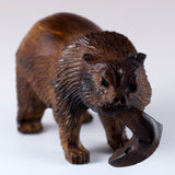 Grizzly Bear With Fish Hand Carved Ironwood Wood Figurine 3