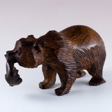 Grizzly Bear With Fish Hand Carved Ironwood Wood Figurine 4