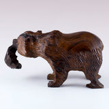 Grizzly Bear With Fish Hand Carved Ironwood Wood Figurine 5