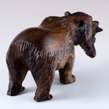 Grizzly Bear With Fish Hand Carved Ironwood Wood Figurine 6