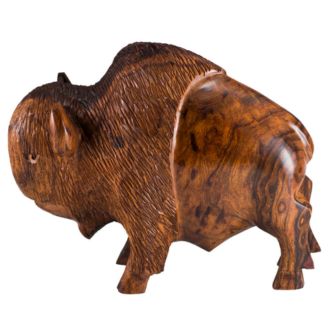 Buffalo Bison Hand Carved Ironwood Wood Carving Figurine 1