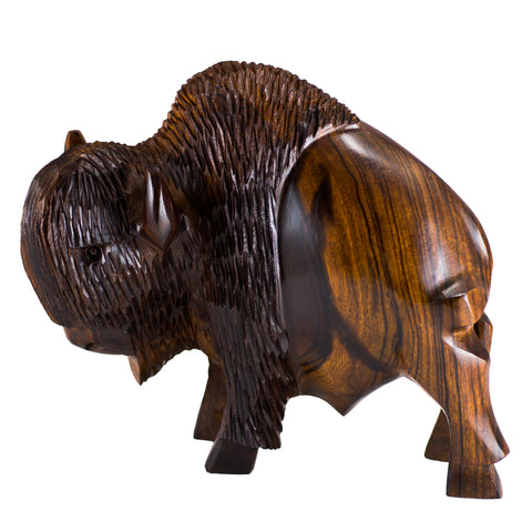 Buffalo Bison Hand Carved Ironwood Wood Figurine 6