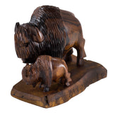 Buffalo Bison With Calf Hand Carved Ironwood Wood Figurine 1