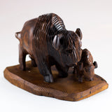 Buffalo Bison With Calf Hand Carved Ironwood Wood Figurine 2