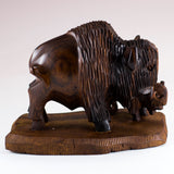 Buffalo Bison With Calf Hand Carved Ironwood Wood Figurine 3