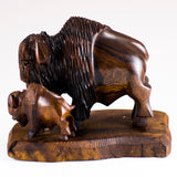 Buffalo Bison With Calf Hand Carved Ironwood Wood Figurine 5