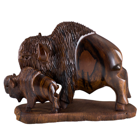 Buffalo Bison With Calf Hand Carved Ironwood Wood Carving 1