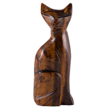 Cat Hand Carved Ironwood Wood Figurine 1