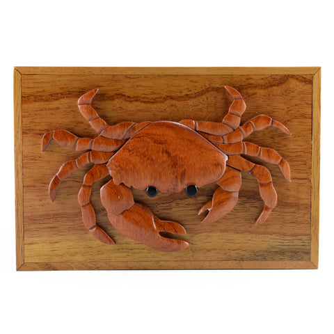 Wood Intarsia Crab Hinged Trinket Box