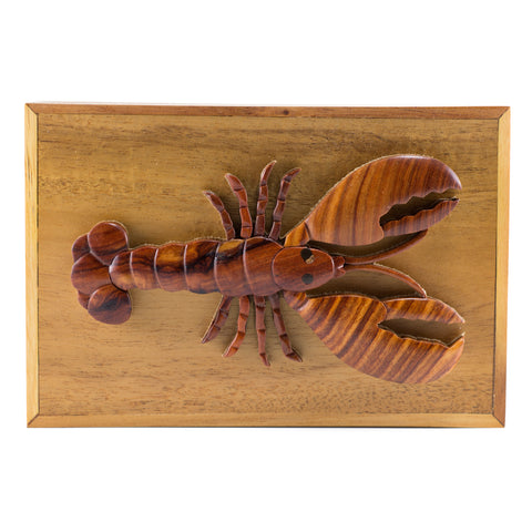 Wood Intarsia Lobster Hinged Trinket Box