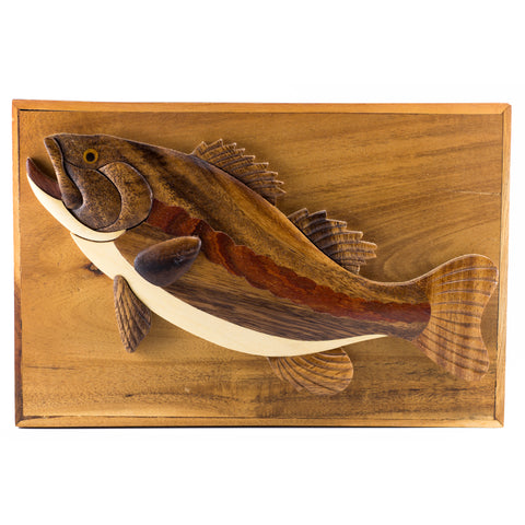 Bass fish wood intarsia hinged trinket box
