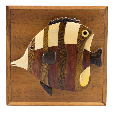 Wood Intarsia Angelfish Fish Hinged Trinket Box