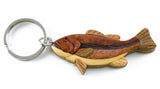 Wood Intarsia Bass Fish Key Ring Keychain 2