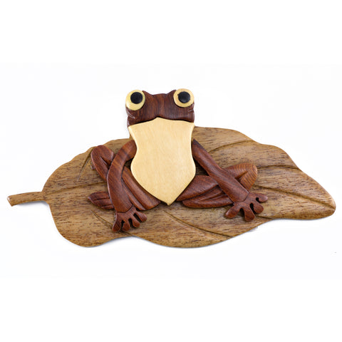Wood Intarsia Frog On Lily Pad Magnet